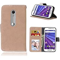 MOTO G3 Case,BONROY® MOTO G3 Retro Matte Leather PU Phone Holster Case, Flip Folio Book Case, Wallet Cover with Stand Function, Card Slots Money Pouch Protective Leather Wallet Case for MOTO G3