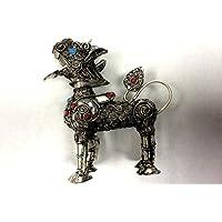 Decorativo in filigrana tibetano Snow Lion tradizionale figurina