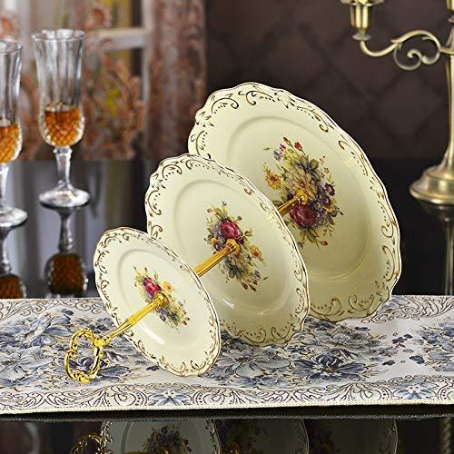 GWFVA Mehrschichtige Obstschale Fruit Fight Trockenobst Candy Pastry Dish Obstteller Farbe Snack Stehen DREI Schichten Trockenobst Candy, 6-8-10 Zoll Geprägte Gold Flower Meer 6-zoll-candy Dish
