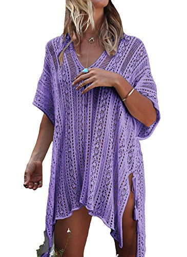 LazLake Damen Gestrickte Strandkleid Sommer Strandponcho Strandurlaub Badeanzug Bikini Cover-Ups LXF13 Purple