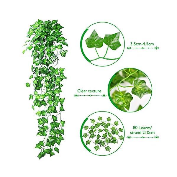 GVOO 12pcs*2.1m Plantas Colgantes Artificiales,Guirnaldas Artificiales, 2pcs*2.45m Enredaderas Artificiales con Rosas…
