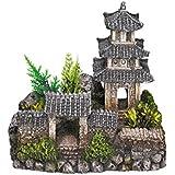 Nobby - Décoration pour aquarium - Avec plantes - Temple asiatique - 18,5 x 14,2 x 17 cm