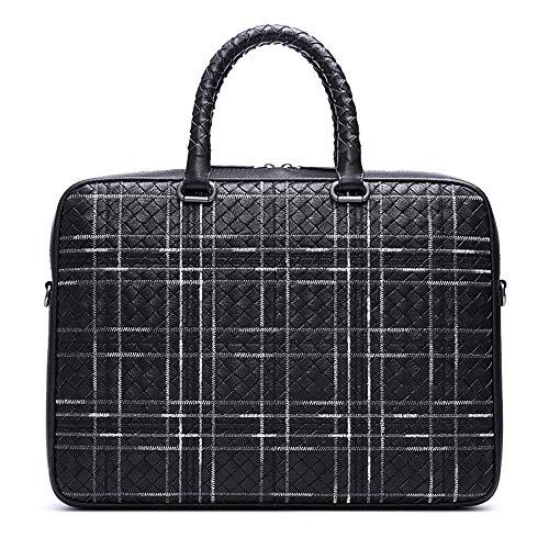 Bürotasche Hohe Qualität Herrenhandtaschen Schaffell Herren Business Aktentasche Geflochtene Männer Schulter Umhängetasche Laptoptasche beständig Umhängetasche mit Gurt Geeignet für den täglichen Gebr -