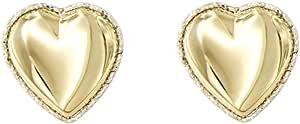 forme di Lucchetta per Donna - Orecchini o Collana con Cuori con Cornice Diamantata in Vero Oro Giallo