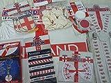 Massive England Supporters Pack 5m Schleifenband & Luftballons & Fliege & Funky Hosenträger & Rot Weiß Face Paint & 3Lufterfrischer & Trolly Token & 6Meter Wimpelkette