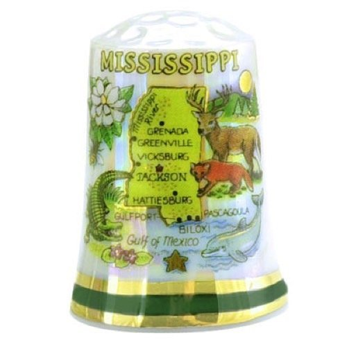 Mississippi State Map Pearl Souvenir Collectible Thimble agc by Souvenir Destiny
