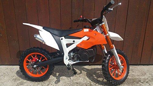 49ccm-Pocketbike-Crossbike-Dirtbike-49cc-2-Takt-RV-Racing-Kinder-Motorrad-Orange