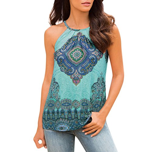 TUDUZ Women Tank Tops Women Summer Beach Boho Print Vest Top Casual Loose Sleeveless Sling Cami Top Blouse