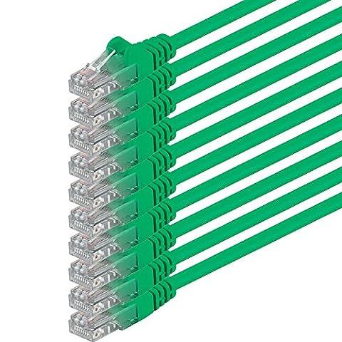 3m - grün - 10 Stück - (PACK) - CAT6 CAT6 Ethernet Lan Netzwerkkabel RJ45 | 10 / 100 / 1000 / Mbit/s | Patchkabel | CAT 6 | 250 MHz | Halogenfrei | kompatibel zu CAT 5 / CAT 6a / CAT 7 | für Internet, DSL, Smart TV, Xbox, Mediaplayer, Switch, Router, Modem, Patchpannel, Access Point, Patchfelder