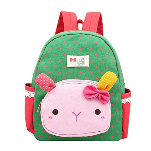 Trada Baby Backpack, Kinder Baby Mädchen Jungen Kinder Cartoon Kaninchen Tier Rucksack Kleinkind Schultasche Babyrucksack Schultasche Tagesrucksack für Mädchen Jungen (Grün)