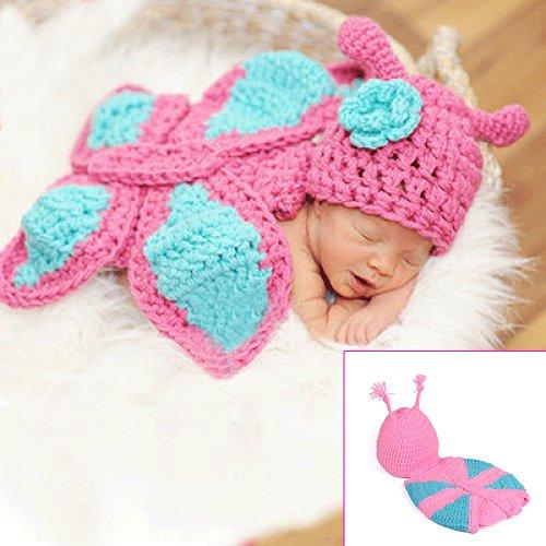 Sunfire Crochet Knit Kostüm Fotografie Prop Outfits Kleidung Umhang für Neugeborene Baby Gril Boy Schmetterling pink
