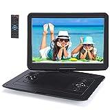 Pumpkin 15.6' Reproductor DVD Portátil con 1366*768 LED Pantalla soporta USB y Tarjeta SD, 6.5 Horas Reproducción, Negro