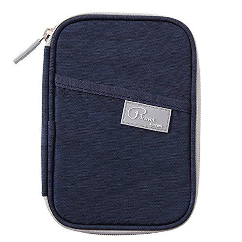 Passaporto Portafoglio/borsa da viaggio frizione/Card Cash Organizer passaporto/porta documenti con Hand Strap (Oxford Navy + RFID Stop) Nylon Navy