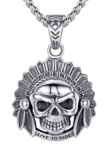 acciaio-inossidabile-collana-con-pendente-da-uomo-live-to-ride-nativo-cranio-teschio-gotico-ciondolo