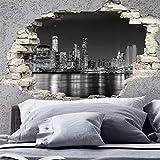 Stickers adhésifs Effet 3D | Sticker Autocollant New York Skyline - Décoration Murale Trompe l'œil Chambre et Salon - 60 x 90 cm