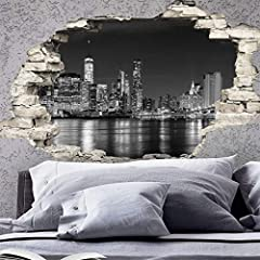 Idea Regalo - Adesivo Effetto 3D| Stickers Skyline di New York - Decorazione da pareti camere e soggiorni - 60 x 90 cm