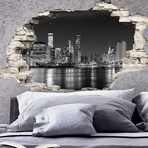 Stickers adhésifs Effet 3D   Sticker Autocollant New York Skyline - Décoration Murale Trompe l'œil Chambre et Salon - 60 x 90 cm