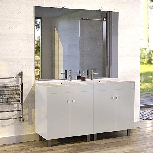 Meuble salle de bain ÉCOLINE 140 double vasque résine – Blanc brillant