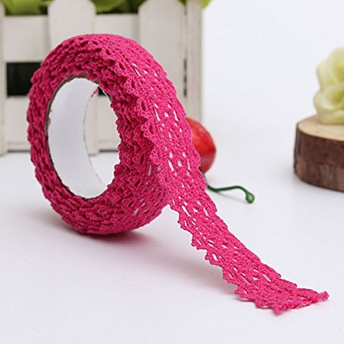 Jellbaby Baumwolle Tape Strick Zwei - Farbe Lace Tape Spitze Tuch Stoff Spitze Spitze Tape Width:1.7cm hot pink