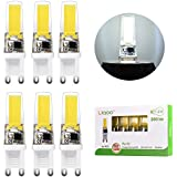 Liqoo® 6x 3W Bombillas LED G9 COB 220V Lámpara Bajo Consumo Blanco Frío 6000K Ra 83 Ángulo de Visión 360° 300 Lumen Ahorra 90% Energía Reemplaza 30W