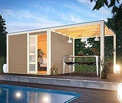 Karibu Gartenhaus Qubic I 546 x 276 x 214 cm I Farbe: sandbeige