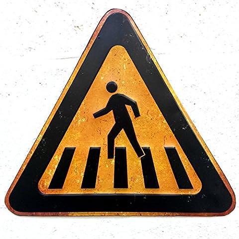 Embossed Metal Traffic / Road Sign Wall Plaque in Retro / Rustic / Urban design (PEDESTRIAN CROSSING)
