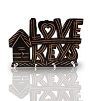 WhopperOnline Wooden LoveKeys Design Key Holder Decorative Work Key Hanging with 4 Hooks Key Organizer for Home Wall Decor 5.5 Inch