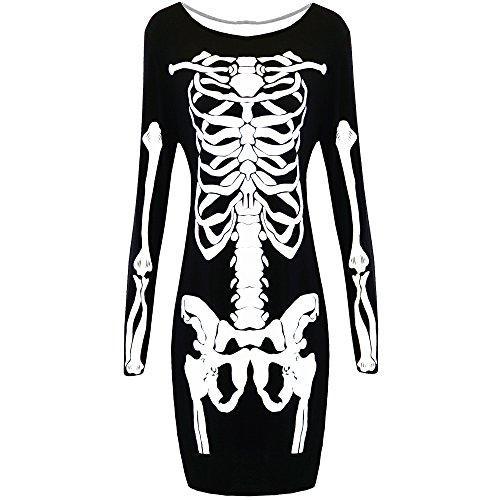 Frauen Damen HALLOWEEN SKELETT Body Figurbetont Maxi Mini Kostüm Top Plus Größe Gr.  (38-40), Black - Printed Tunic Stretchy Spooky Scary (Skelett Bodysuit Damen Kostüm)