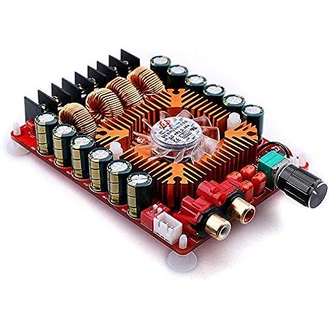 Yeeco Estéreo TDA7498E 2x160W Doble Canal Amplificador Energía Audio AMP Junta DC 24V Digital Amp Compatibilidad con el Módulo Modo BTL Solo Canal 1X220W para la Computadora Vehículo Coche Altavoz DIY con el Ventilador Refrigeración