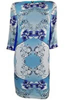 Marks & Spencer Limited Collection Blue Print Shift Dress with 3/4 length Sleeves