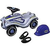 BIG Bobby Car Classic Polizei mit Spielzeug-Polizeihelm und Schuhschoner für Gr. 21-27.