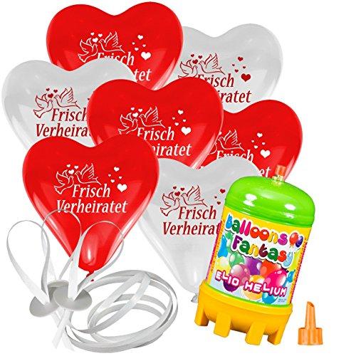 """30x Herzballons """"Frisch Verheiratet"""" rot/weiß Ø30cm + Helium Ballongas + PORTOFREI + 50x Ballonflugkarten + Geschenkkartenset. High Quality Premium Ballons vom Luftballonprofi & deutschen Heliumballon Experten. Luftballon Deko zur Hochzeitsfeier und tolles Luftballon Geschenk zur Hochzeit"""