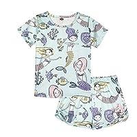 ModaIOO Girls Unicorn Dinosaur Butterfly Flamingo Rainbow Pajamas Kids 2Piece Sleepwear Set