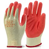 Pack of 10 Orange Scaffolders Builders Gardening Rubber Latex Work Gloves XL - Comes With TCH Anti-Bacterial Pen!