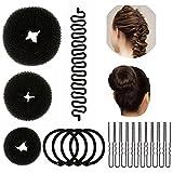 Lictin 3 Pezzi Stile Kit di Accessori Styling dei Capelli (Grandi, Medie E Piccole), Nero,intessere i strumento dei capelli di Ball head,piastra della ciambella
