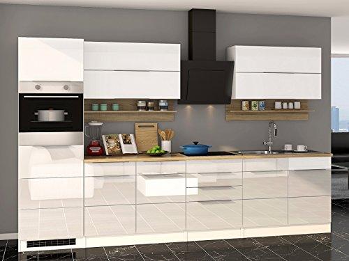 """Küchenzeile Küche Einbauküche Küchenblock Kochnische Küchen-Set \""""Neapel I\"""" Weiß Hochglanz"""