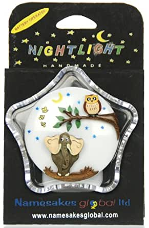 Nightlights for Children : Elephant & Owl : Fun Gift for Kids or Babys Nursery : Battery-operated Night Lights