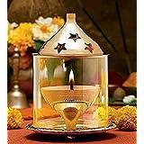 Heaven Decor Brass Glass Akhand Diya Oil puja Lamp 4 Inch Small Size (7.5 X 7.5 X 10 cm)