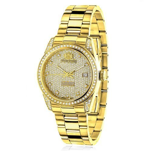 LUXURMAN 2487 - Reloj para mujeres, correa de acero inoxidable color dorado