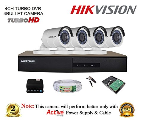 Hikvision 4ch- Ds-7204hghi-f1-turbo-hd-720p-dvr + Hikvision Ds-2ce16cot-irp Turbo Bullet Camera 4pcs + 1tb Hdd + Cable 3+1 Copper + Power Supply (full Combo)