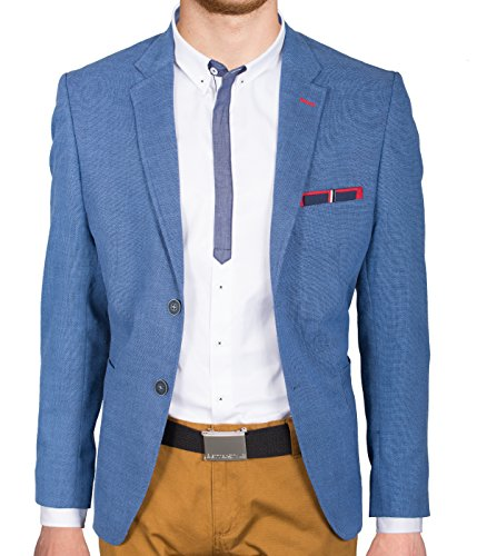 BetterStylz -  Giacca da abito  - Uomo blu Dunkel Blau Rot 58