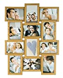 levandeo Bilderrahmen Collage B x H: 58x45cm 12 Fotos 10x15 Eiche MDF Holz fertig montiert Glas