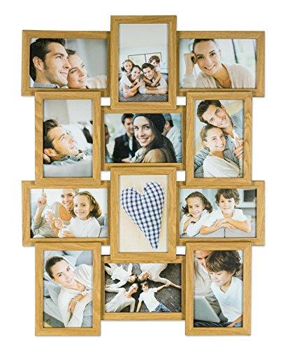 levandeo Bilderrahmen Collage B x H: 45x58cm 12 Fotos 10x15 Eiche MDF Holz fertig montiert Glas