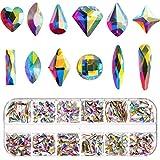 Nagelkristalle AB 240 Stück Nagel Kunst Strass Strasssteine Edelsteine Gemischt Nagel Diamant Stein für Nail Art Kleidung Schuhe Taschen Handwerk