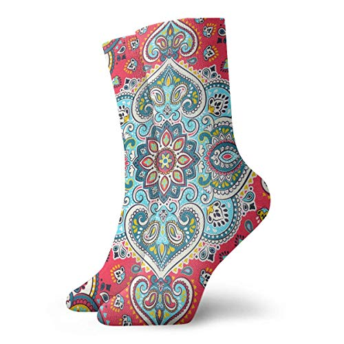 dfegyfr Indian Floral Paisley Medallion Crew Socks Casual Funny for Sports Boot Hiking Running Etc. Medallion-boot
