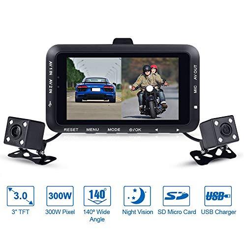 Moto Dash Cam 1080P Doppia Lente Impermeabile Registrazione Schermo LCD da 3'Ampio 140 ° con Visione Notturna, sensore G e Video ad Anello