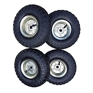 4 x Frosal Luftrad Bollerwagen Ø 260 mm 4.10/3.50-4 | Ersatzrad Reifen Sackkarre | Achse 16 mm | Rad mit Kugellager | Stahlfelge silber | Sackkarrenrad
