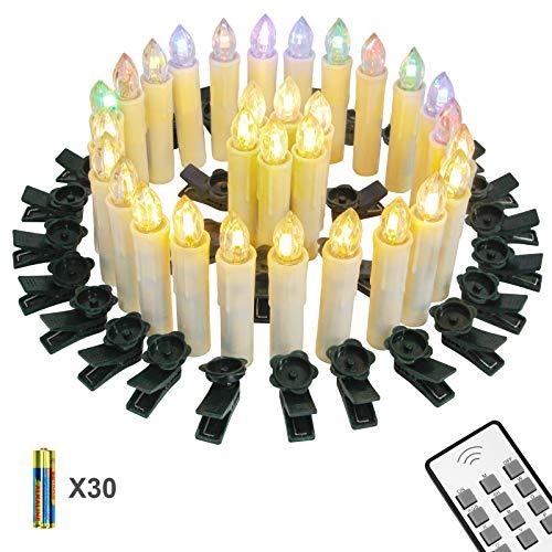 Yorbay 30er kabellose LED Kerzen Weihnachtskerzen IP64 wasserdicht RGB&Warmweiß mit Batterien, Dimmbar mit Fernbedienung und Timerfunktion, als Dekoration für Weihnachten, Weihnachtsbaum (Mehrweg)