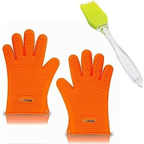 Guantes horno, guantes cocina, iNeibo, guantes silicona, manoplas cocina, manoplas horno, manopla para horno y barbacoa, viene con una brocha cocina, accesorios cocina, multiusos y flexibles