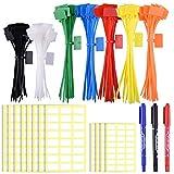 SIQUK 160 Piezas Etiquetas para el lazo de cables en 4/6 pulgadas Marcador para el lazo con cierre automático con 288 piezas Etiquetas blancas y Marca